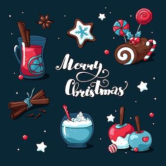 Doodle modelo de cartão de natal com letras de feliz natal