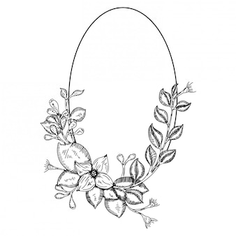 Doodle moldura floral para design de casamento Vetor Premium