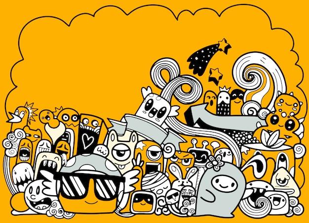 Doodle monstro bonito com fundo copyspace, mão desenhando doodle