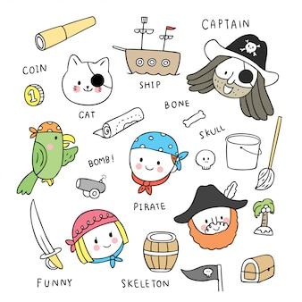 Doodle o pirata bonito dos desenhos animados e a criança e o vetor dos animais.