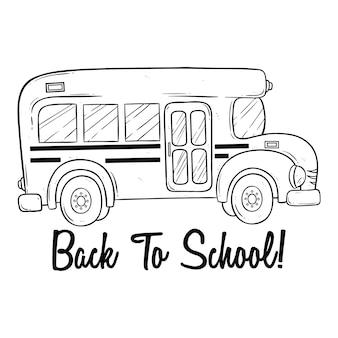 Doodle ou mão desenhada ônibus escolar e volta ao texto da escola