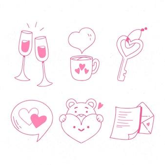 Doodle pacote de elemento de dia dos namorados
