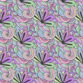 Doodle padrão colorido com flores em vetor. zentangle para colorir