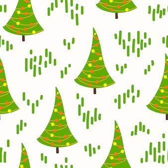 Doodle padrão de árvore de natal