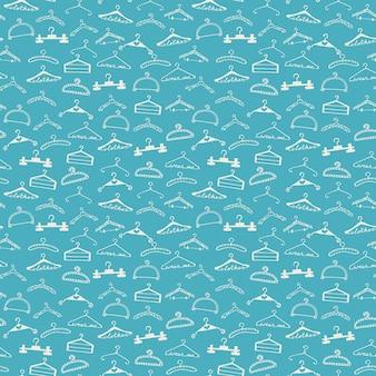 Doodle padrão de cabides de roupas sem costura