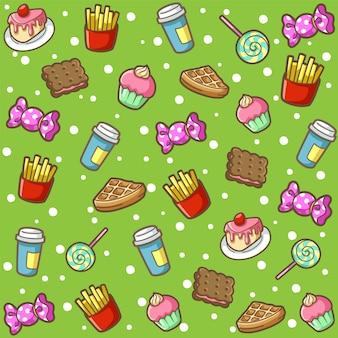 Doodle padrão de comida doce dos desenhos animados