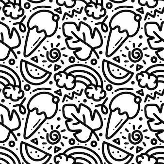 Doodle padrão de conjunto de mão de dia de primavera desenhando desenho de mão com ícones e elementos de design