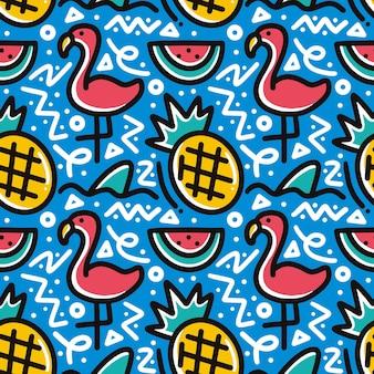Doodle padrão de desenho de mão de férias de verão com ícones e elementos de design