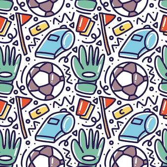 Doodle padrão de desenho de mão de futebol com ícones e elementos de design