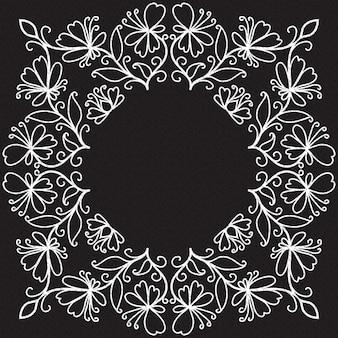 Doodle padrão de espirais, arabescos e flores