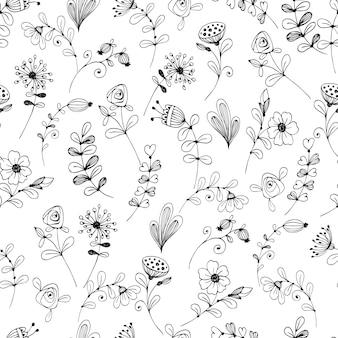 Doodle padrão de flor preto e branco.