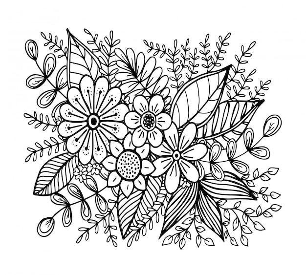 Doodle padrão de flores, desenho de mão