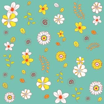 Doodle padrão de hera de flor