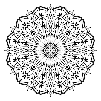 Doodle padrão de mandala de renda monocromática