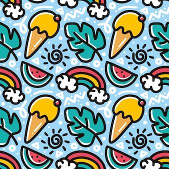 Doodle padrão de sorvete desenhado à mão e frutas com ícones e elementos de design