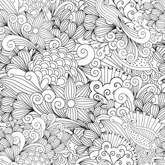 Doodle padrão decorativo floral