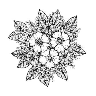 Doodle padrão floral em preto e branco, desenho à mão