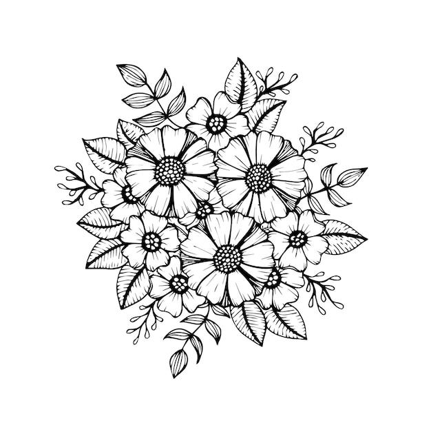 Doodle padrão floral em preto e branco