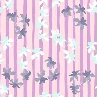 Doodle padrão floral sem costura com estampa aleatória de flores brancas e roxas do havaí