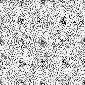 Doodle padrão sem costura com flores. suporte têxtil criativo ou design de embalagem. adulto página para colorir livro.