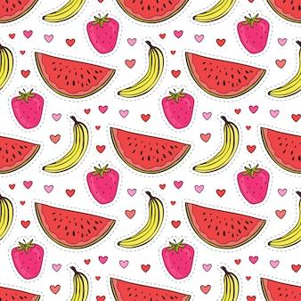 Doodle padrão sem costura com frutas. fundo de vetores de banana, morango e melancia. embalagem de papel ou design têxtil