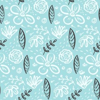 Doodle padrão sem costura floral com flores e folhas