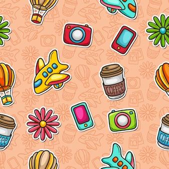 Doodle padrão sem costura ícones mão desenhada colorir