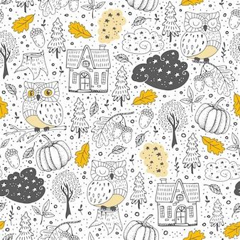 Doodle padrão sem emenda com elementos de outono