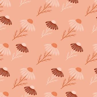 Doodle padrão sem emenda com elementos naturais de flores de camomila