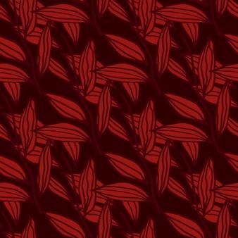 Doodle padrão sem emenda com folhas de contorno. folhagem na cor vermelha sobre fundo escuro da borgonha.