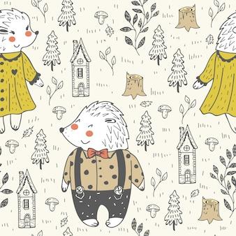 Doodle padrão sem emenda com ouriço na floresta.