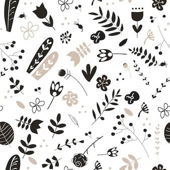 Doodle padrão sem emenda com plantas florestais e prados preto e bege em um fundo branco