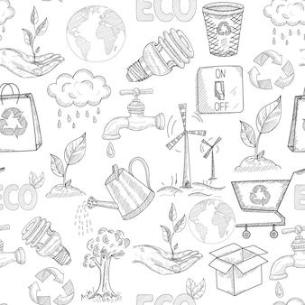 Doodle padrão sem emenda de ecologia com ilustração em vetor plantas natureza conservação símbolos