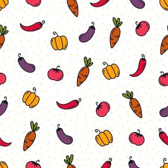 Doodle padrão vegetabe. fundo de alimentos