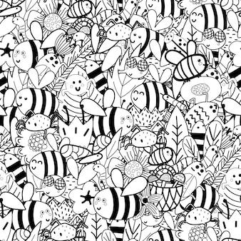 Doodle padrões sem costura preto e branco de insetos - abelhas, moscas, insetos, aranhas, vermes, folhas, flores.