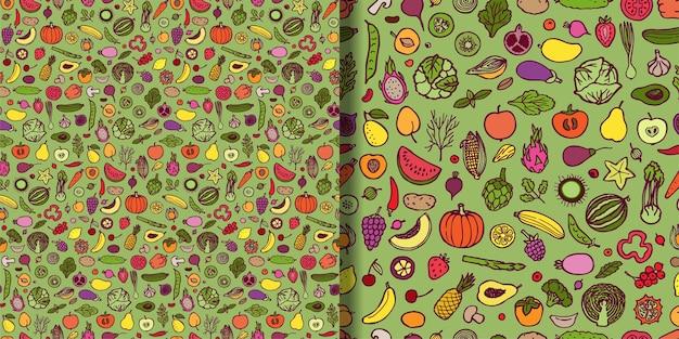 Doodle padrões vegetarianos sem costura definidos repita fundos