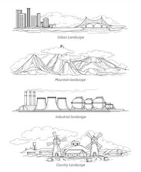 Doodle paisagens desenhadas à mão