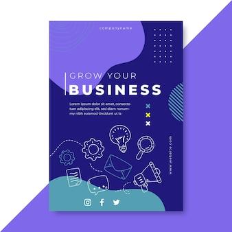 Doodle panfleto colorido de negócios