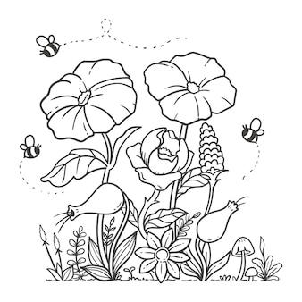 Doodle para colorir flores do jardim da natureza