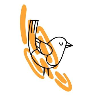 Doodle pássaro em um pássaro colorido desenhado à mão no ponto abstrato, isolado no fundo branco