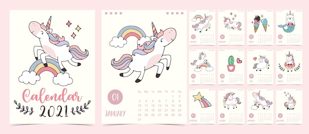 Doodle pastel calendário conjunto 2021 com unicórnio, arco-íris, sorvete para crianças. pode ser usado para gráfico para impressão