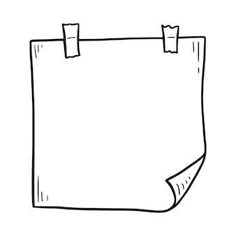 Doodle pegajoso de memorando de papel desenhado à mão