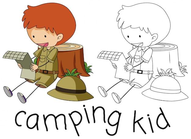 Doodle personagem garoto de acampamento