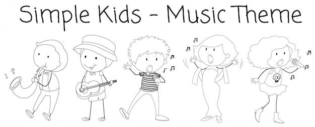 Doodle personagem músico no fundo branco