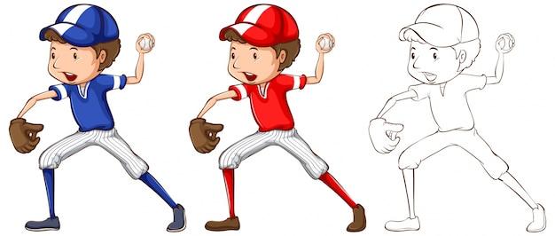 Doodle personagem para baseball player illustration