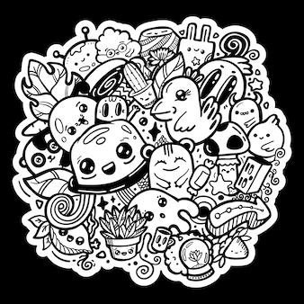 Doodle personagens de desenhos animados bonitos kawaii. preto e branco tatuagem colorir mão ilustrações desenhadas. adesivo em fundo preto