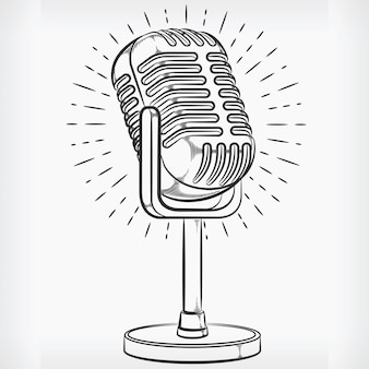 Doodle podcasting microfone mão desenho esboço