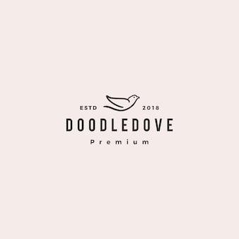Doodle pomba logotipo icon ilustração vetorial