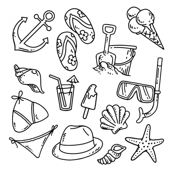 Doodle praia definir ilustração
