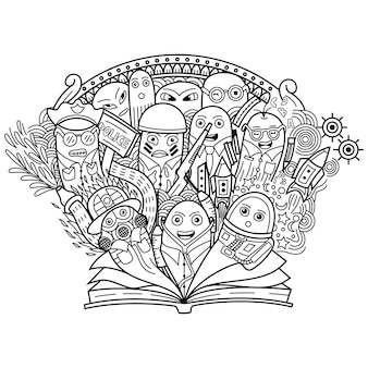 Doodle profissão fofa com livro aberto